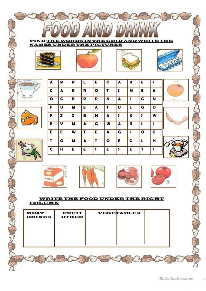 71 FREE ESL food and drink worksheets