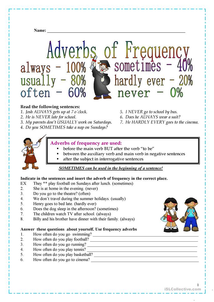 Adverbs of frequency exercises pdf with answers