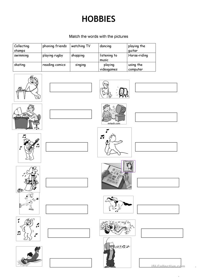 hobbies - ESL worksheets
