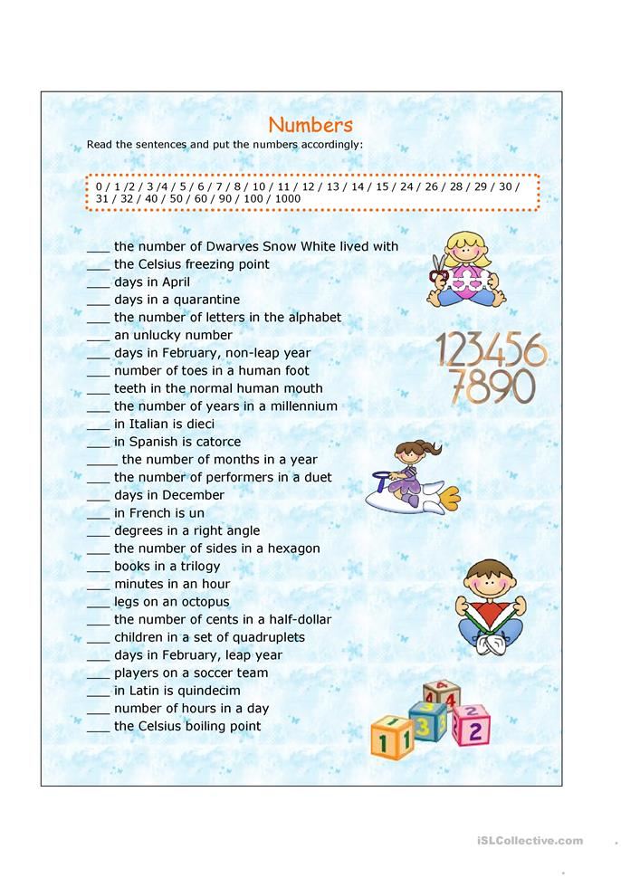 Numbers - ESL worksheets