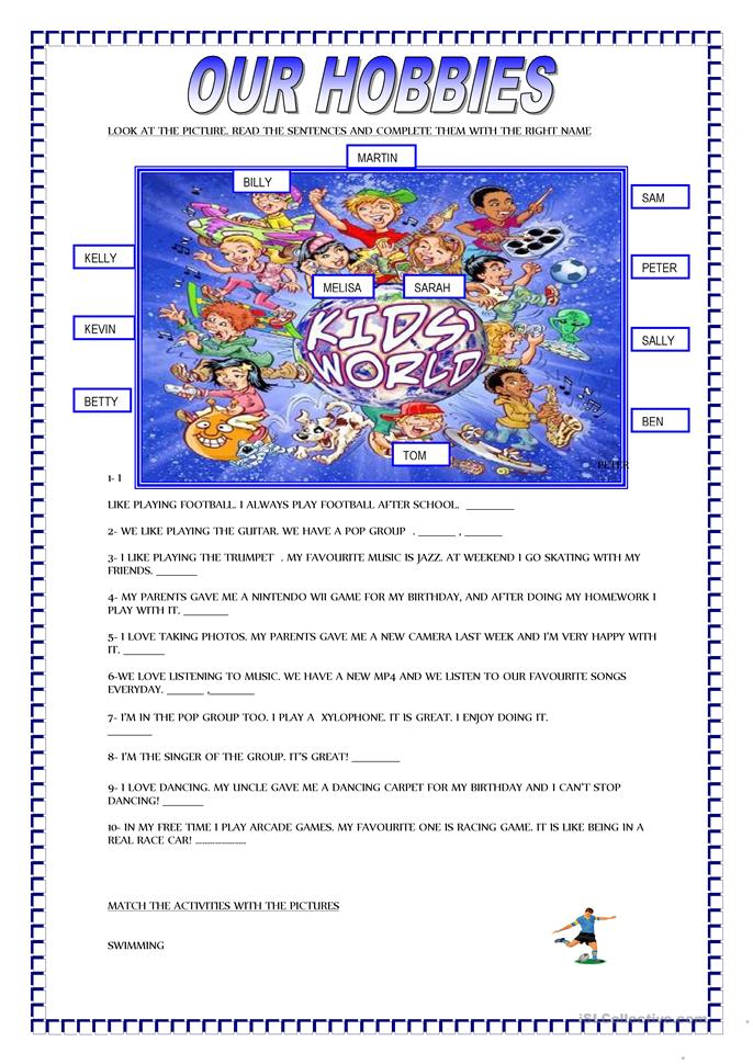 OUR HOBBIES - ESL worksheets