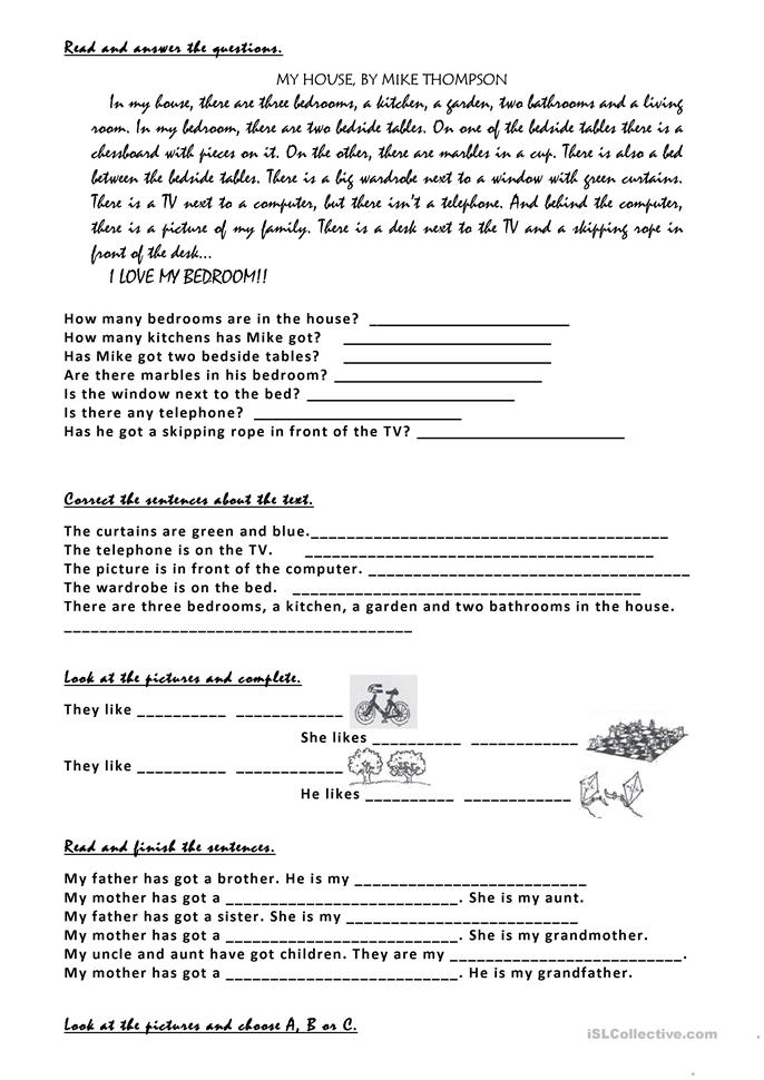 parts of the house, fu... - ESL worksheets