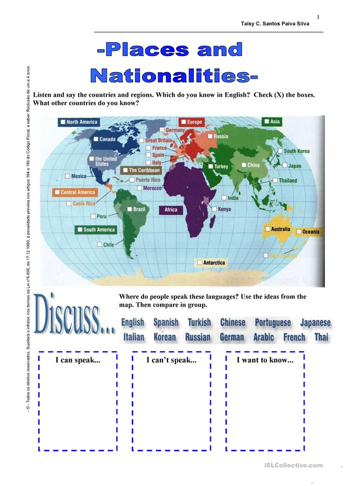 Places and Nationalities - ESL worksheets