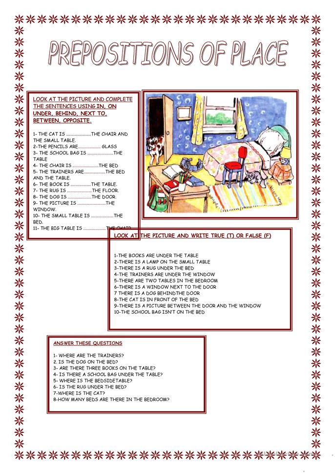 PREPOSITION OF PLACE - ESL worksheets