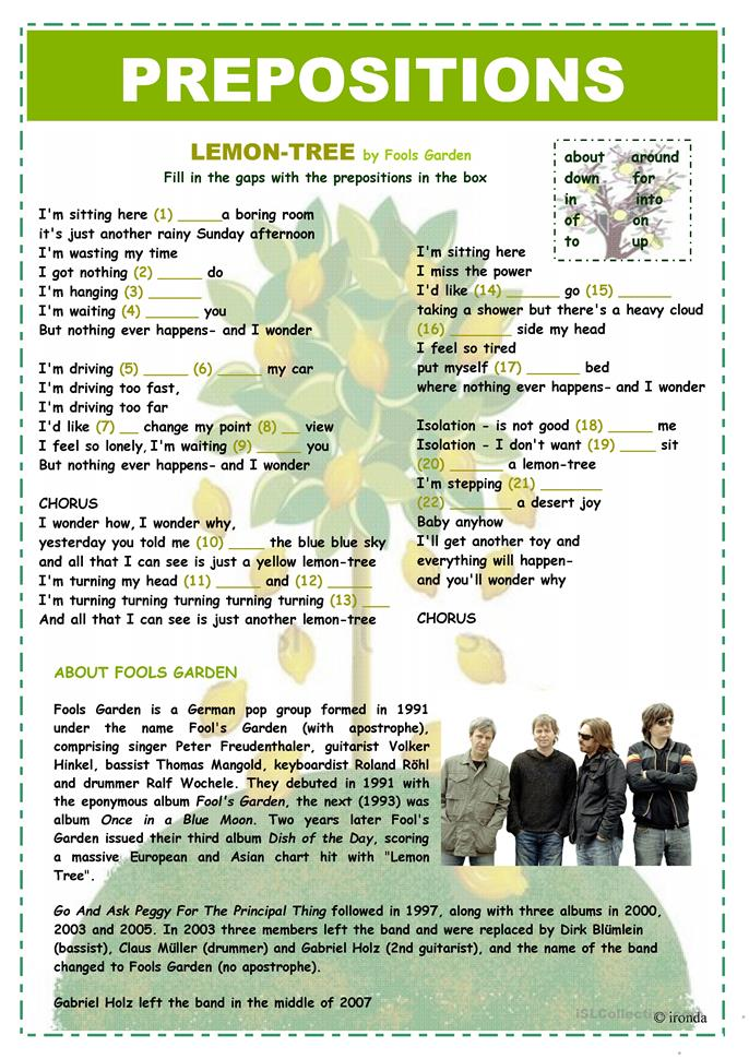 PREPOSITIONS - LEMON TREE - ESL worksheets