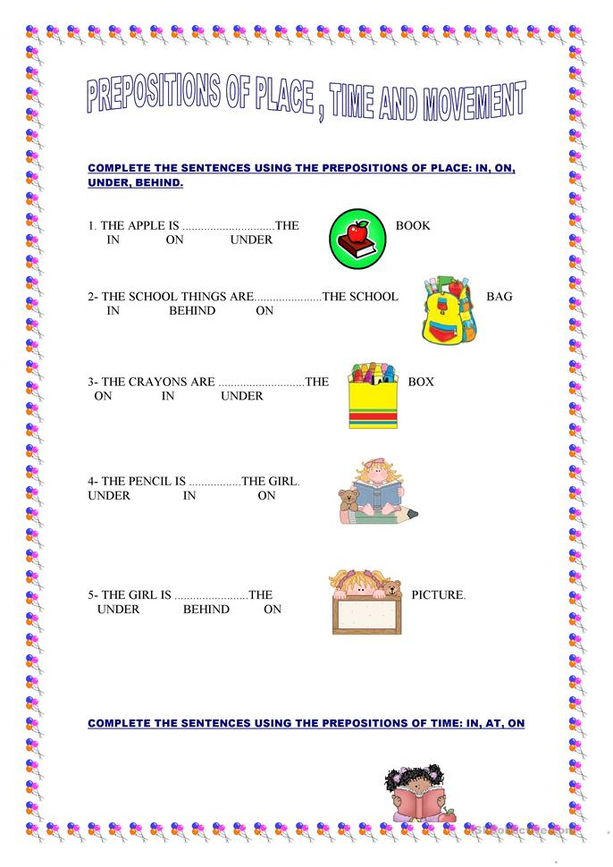 17 FREE ESL prepositions of movement worksheets