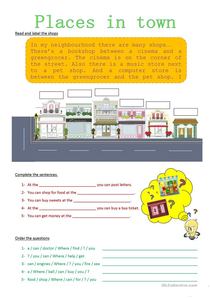 shops in town - ESL worksheets