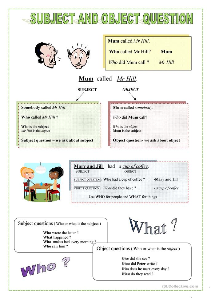 13 FREE ESL Questions: Subject vs object questions worksheets