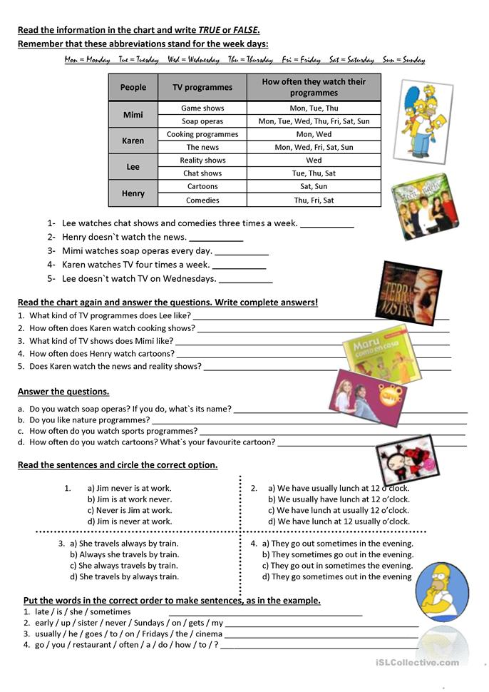 T.V. programmes, times, simple present all forms, adverbs of freque... - ESL worksheets