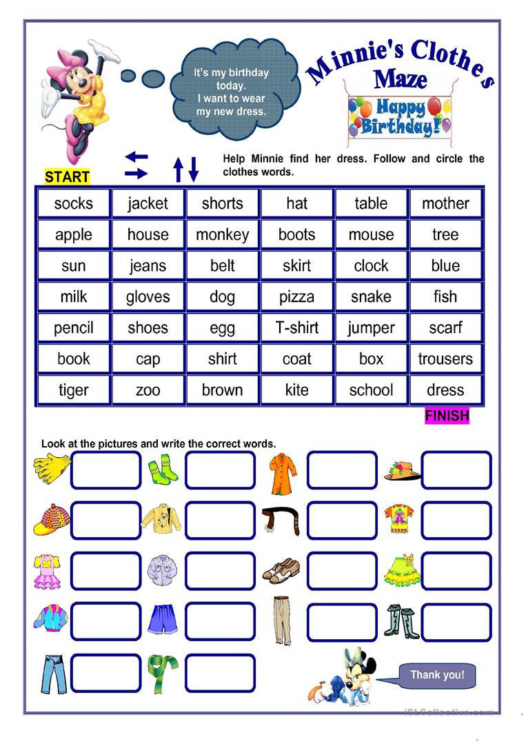 CLOTHES MAZE worksheet Free ESL printable worksheets made by
