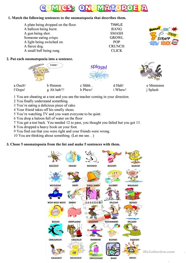 COMICS Part 3 of 5Onomatopoeia worksheet Free ESL printable – Onomatopoeia Worksheets