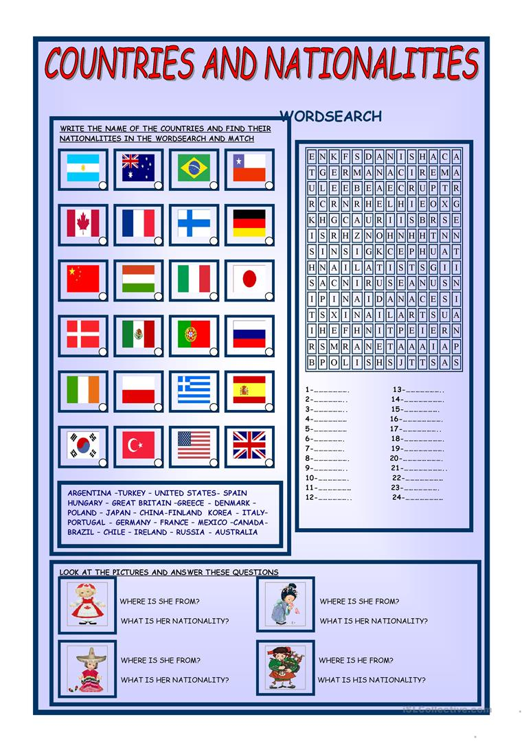 110 FREE ESL countries and nationalities worksheets