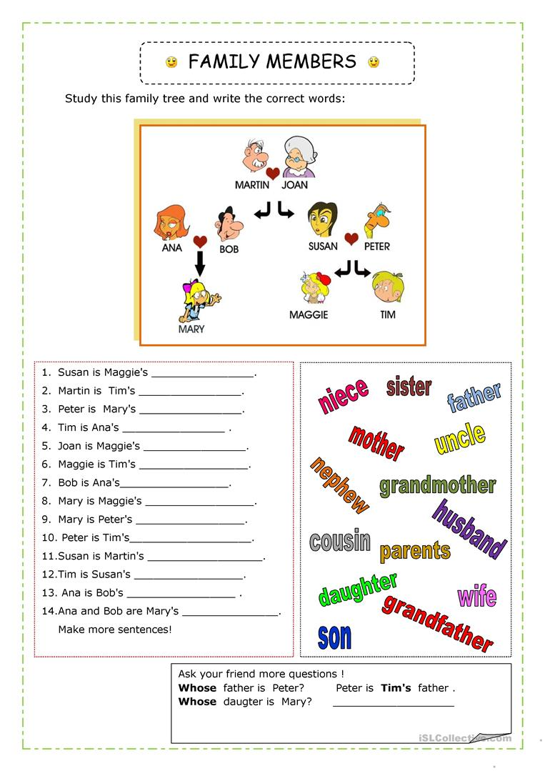 family worksheet free esl printable worksheets made by teachers. Black Bedroom Furniture Sets. Home Design Ideas