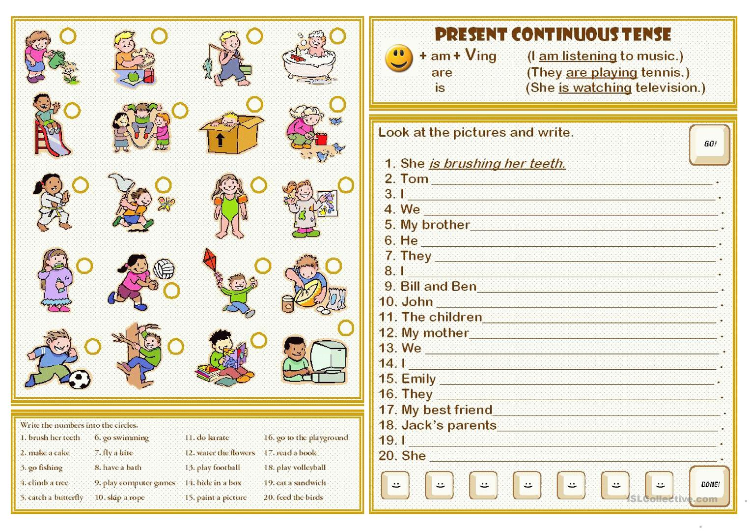 Worksheets Present Continuous Worksheets present continuous tense worksheet free esl printable worksheets full screen