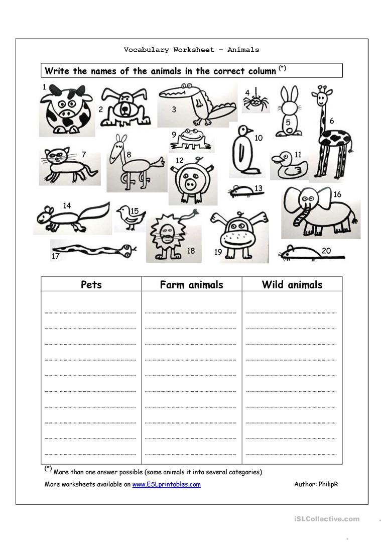 67 Free Esl Animal Vocabulary Worksheets