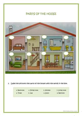 73 FREE ESL parts of the house worksheets