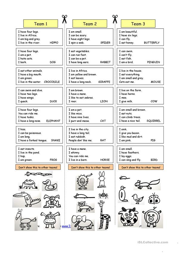 photograph about Printable Riddles for Kids named Animal Riddles 1 (Very simple) - English ESL Worksheets