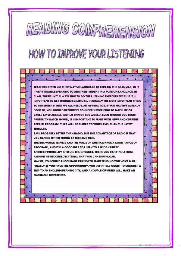 HOW TO IMPROVE YOUR LISTENING