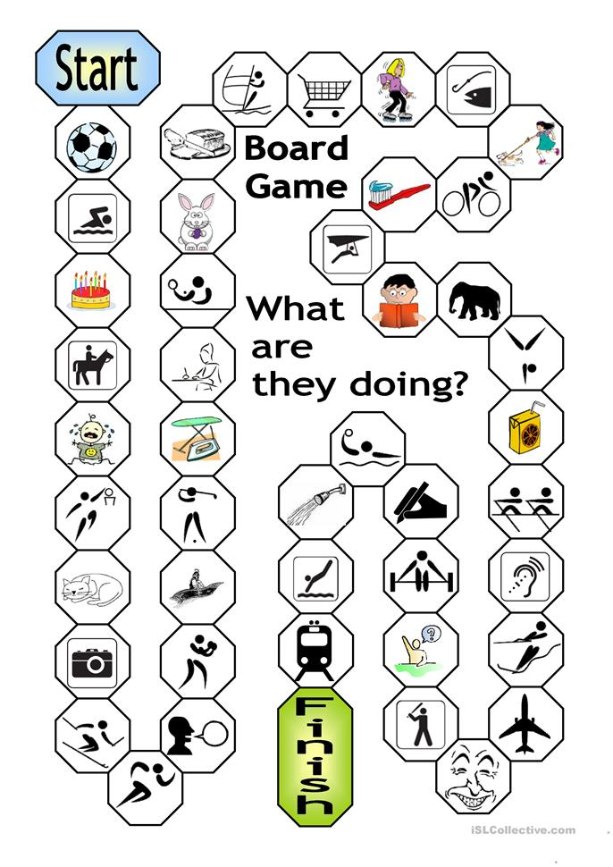 Board Game - What are they doing? - ESL worksheets