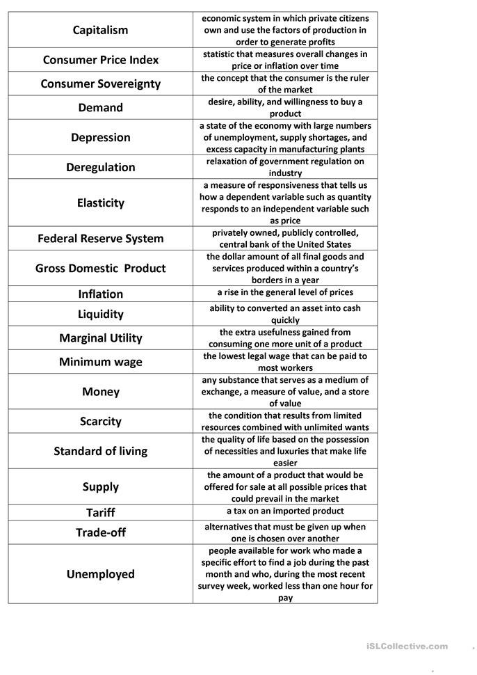 Economics Match Worksheet Free Esl Printable Worksheets