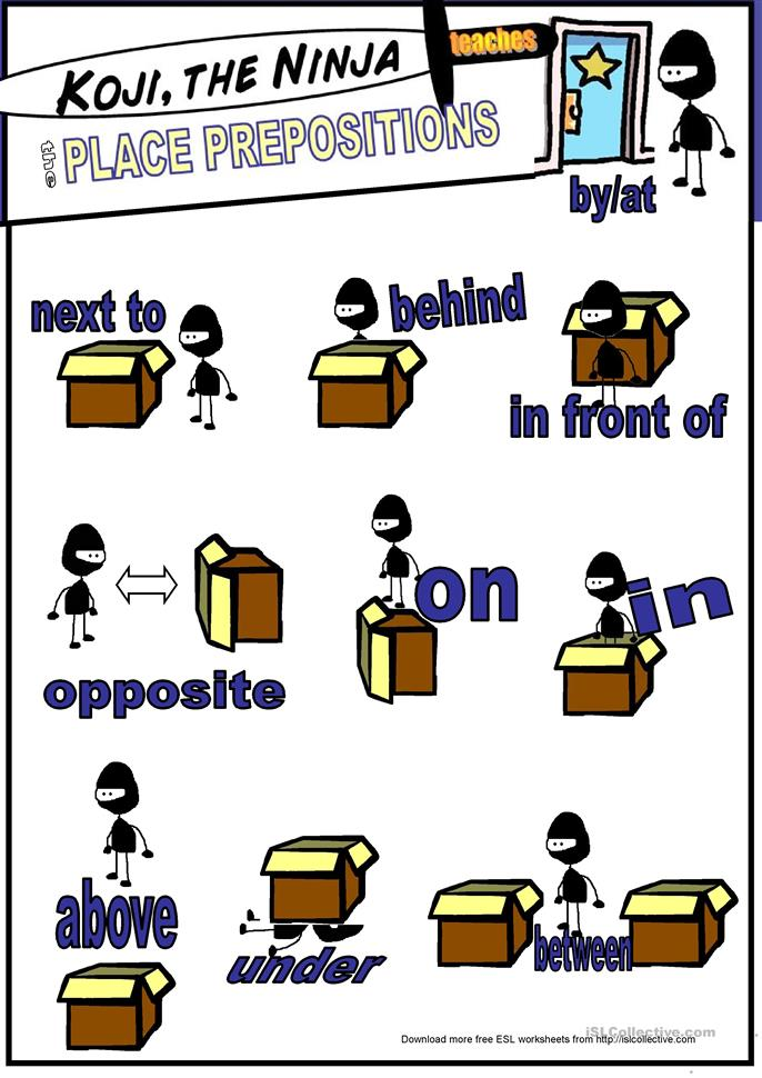 Koji The Ninja Teaches Place Prepositions - ESL worksheets