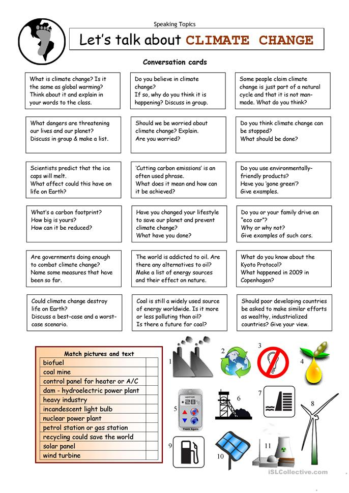 Let's Talk about CLIMATE CHANGE - ESL worksheets