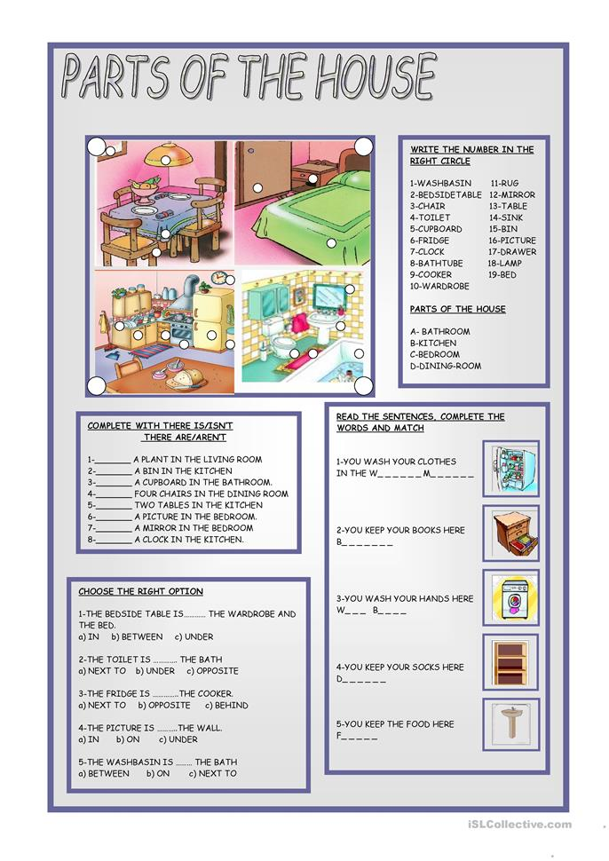 PARTS OF THE HOUSE - ESL worksheets