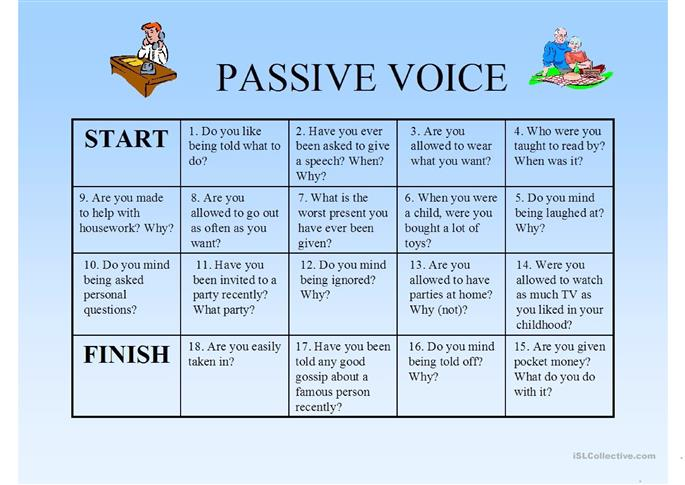 Passie voice boardgame - ESL worksheets