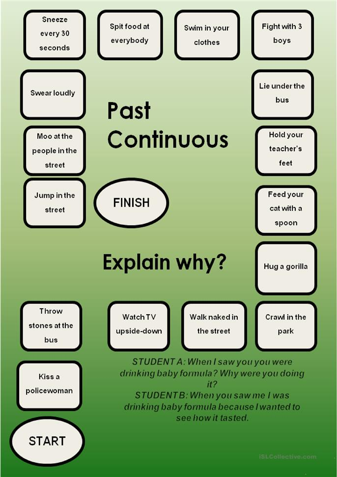 Past Continuous-a boardgame worksheet - Free ESL printable ...