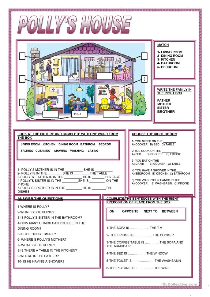 POLLY'S HOUSE - ESL worksheets
