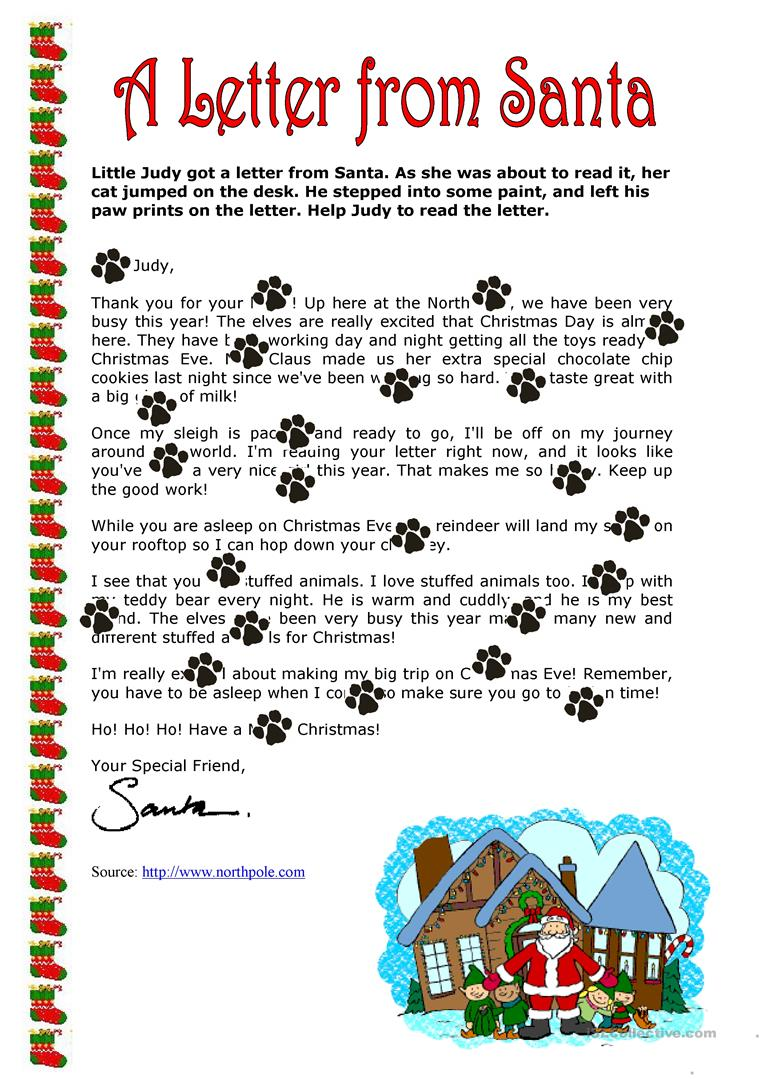 A Letter from Santa Claus worksheet   Free ESL printable