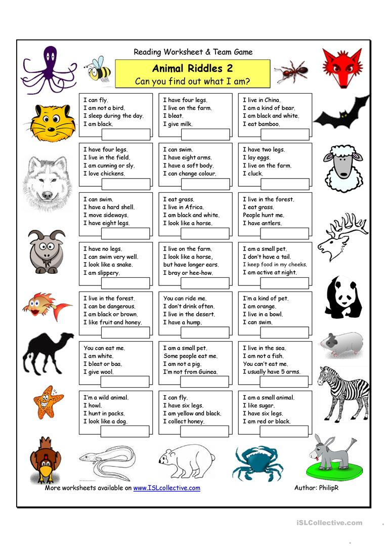 photo regarding Printable Riddles for Kids titled Animal Riddles 2 (Medium) - English ESL Worksheets