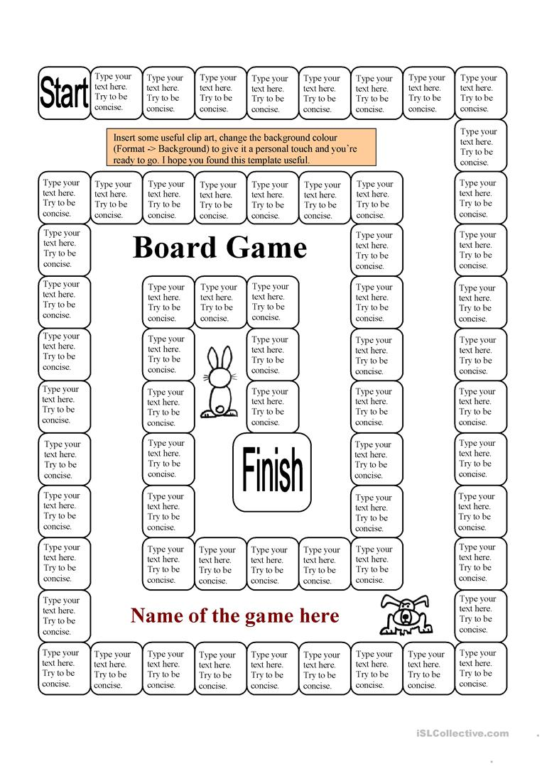 Board game template 62 squares 1 page worksheet free for Board game instructions template