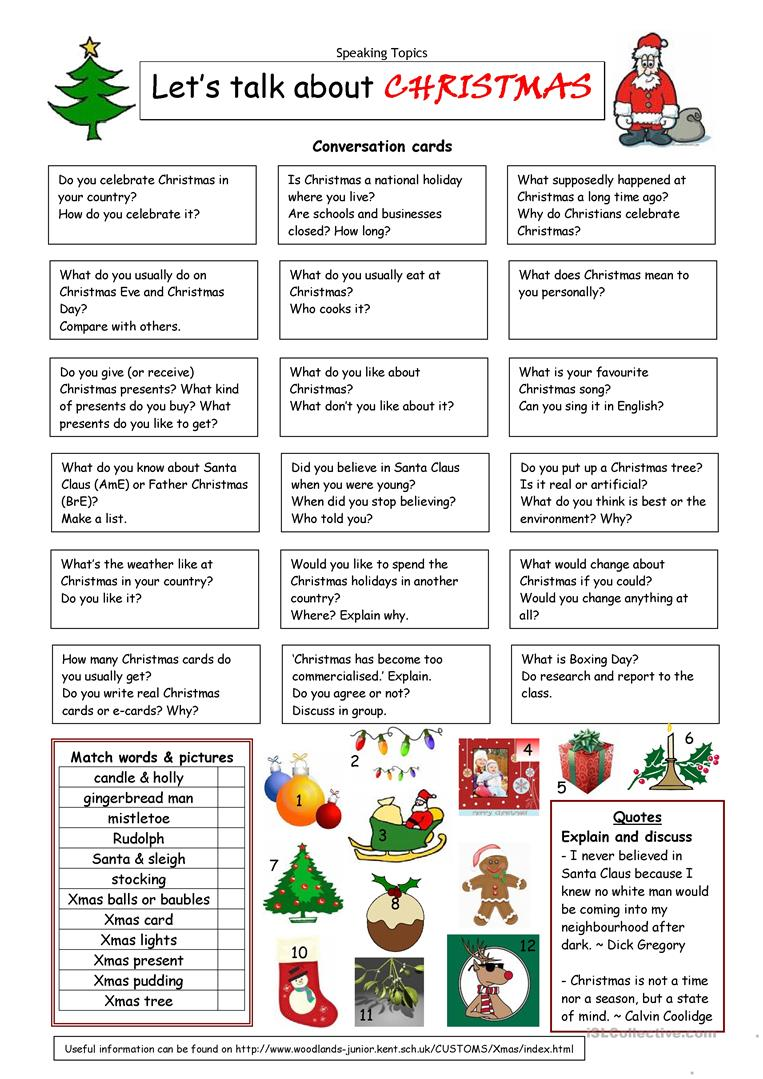 Esl Worksheets For Adults : Let s talk about christmas worksheet free esl printable