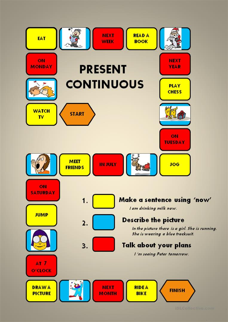 Present Continuous A Boardgame English Esl Worksheets For Distance Learning And Physical Classrooms