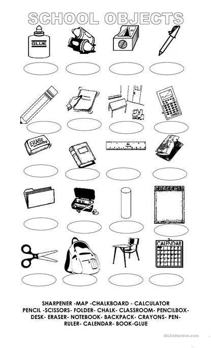 Match the School objects worksheet - Free ESL printable worksheets ...