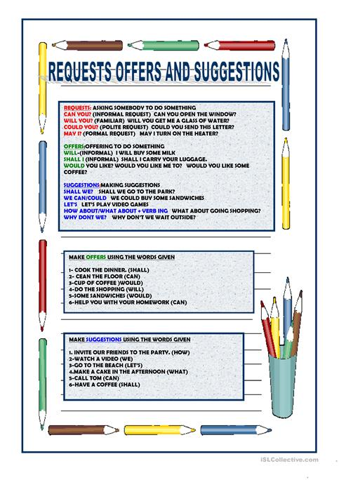 Requests Offers And Suggestions Worksheet Free Esl Printable