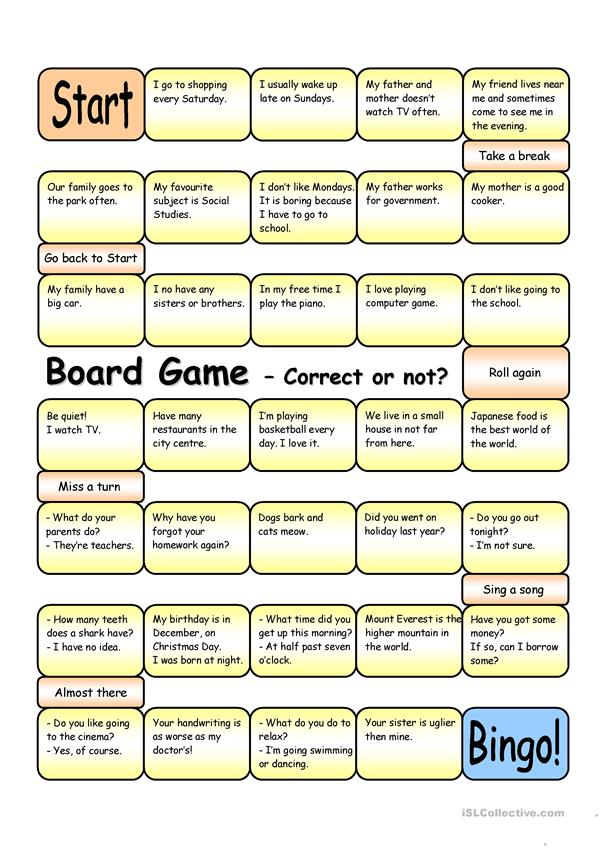 Board Game - Correct or Not? (Elementary - Pre-intermediate)