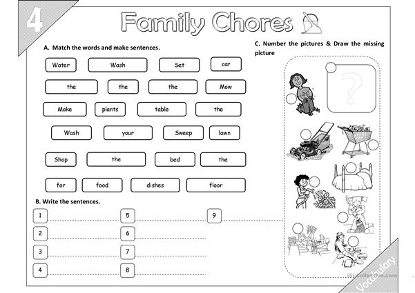 Family Chores: Vocabulary 02 (2pages)