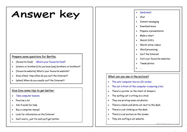Four Skills Worksheet - I love the Internet