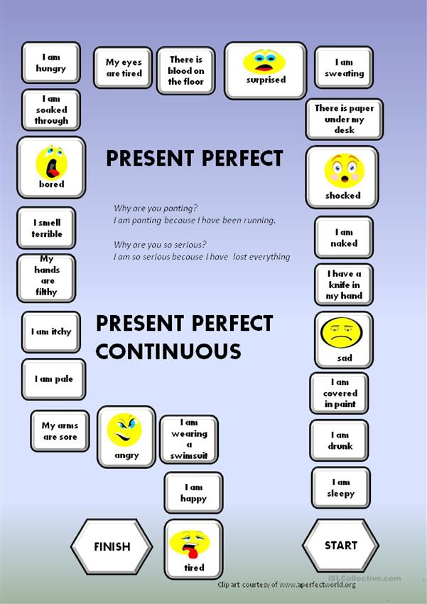 Present Perfect - Present Perfect Continuous - a boardgame