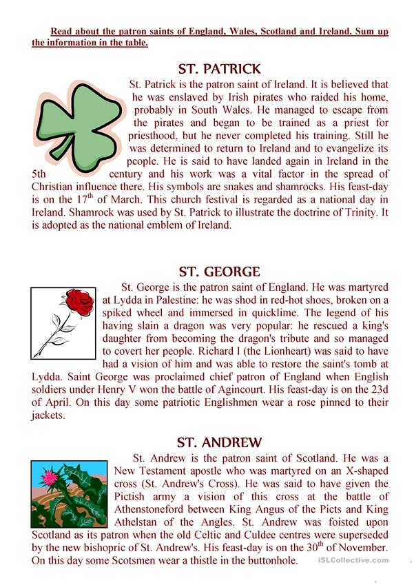 The texts about the patron saints of England, Wales, Scotland and Ireland