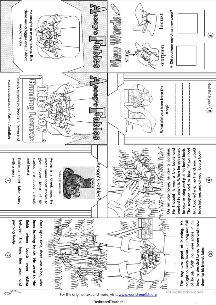 Aesop 39 S Fables The Boy Hunting Locusts Worksheet Free