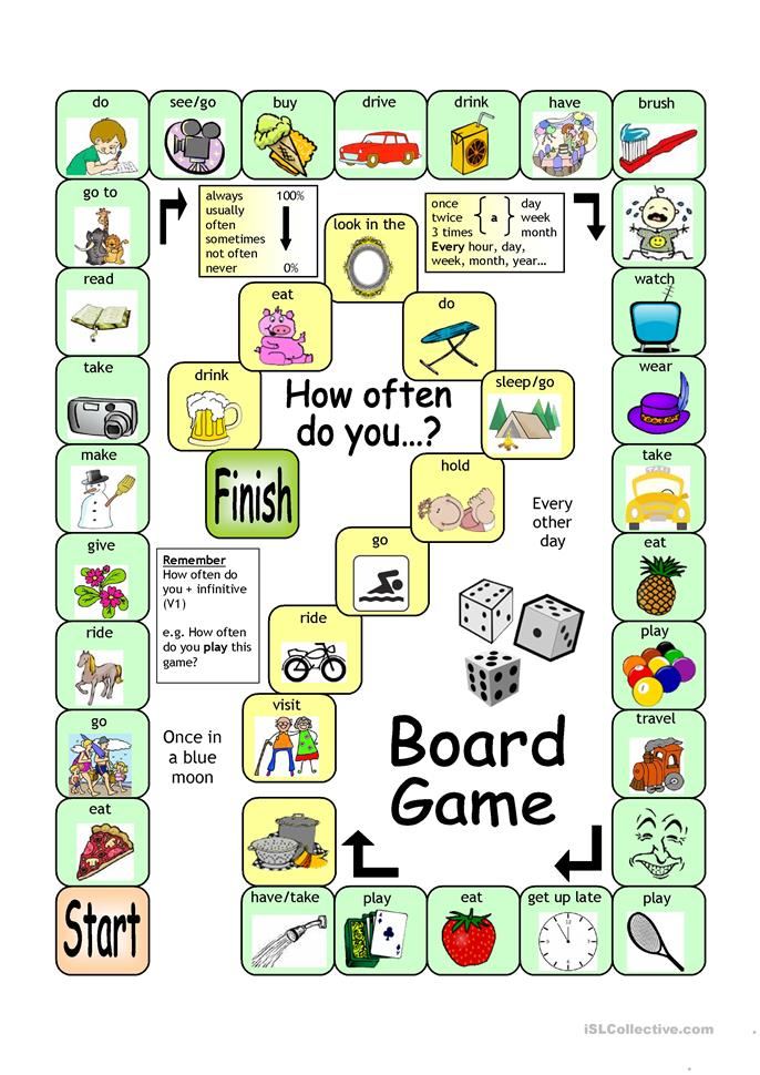 board game - how often  worksheet