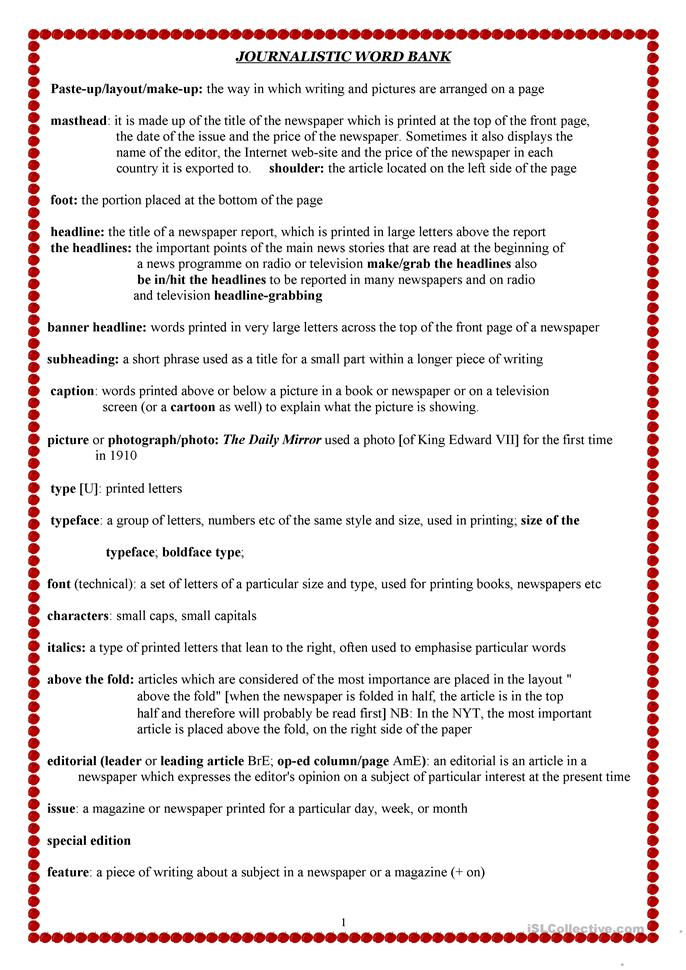 Persnickety image for free printable journalism worksheets