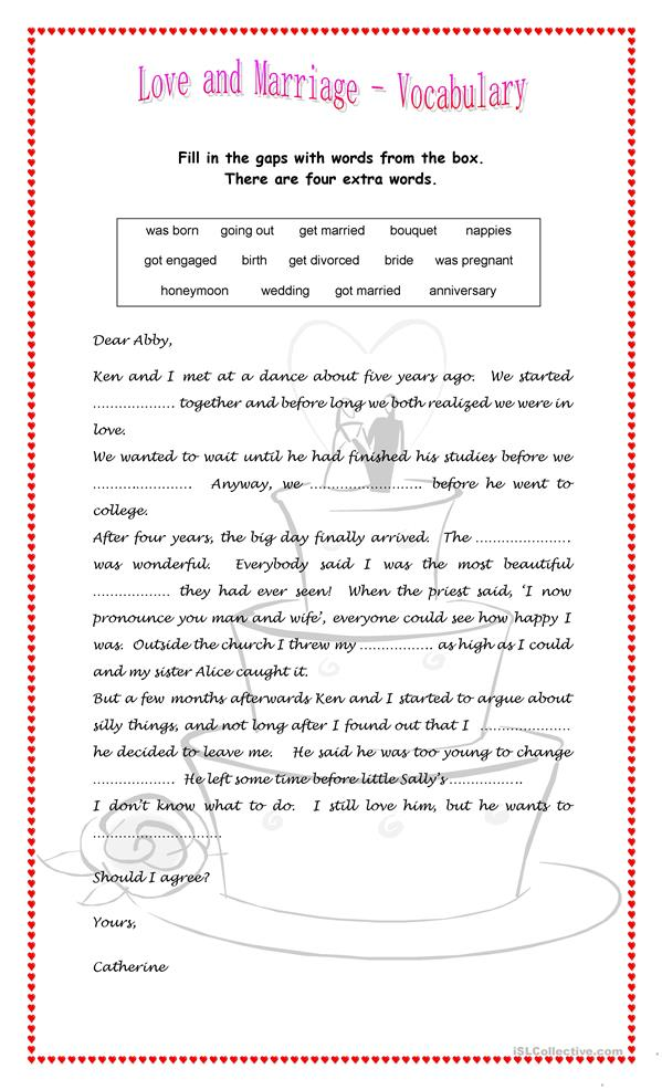Worksheets For Marriage : Love and marriage worksheet free esl printable