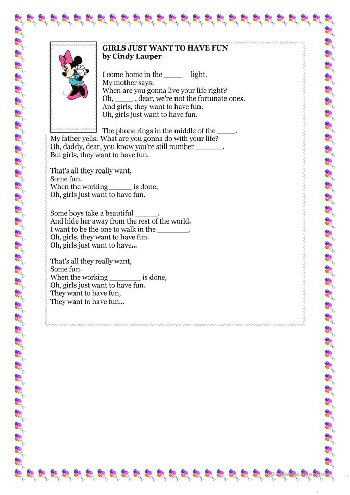 Just For Fun Worksheets : The girls just want to have fun worksheet free esl