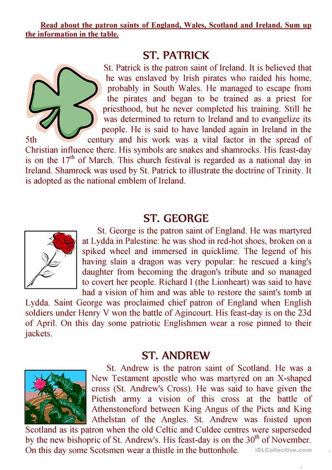 The texts about the patron saints of England, Wales, Scot... - ESL worksheets