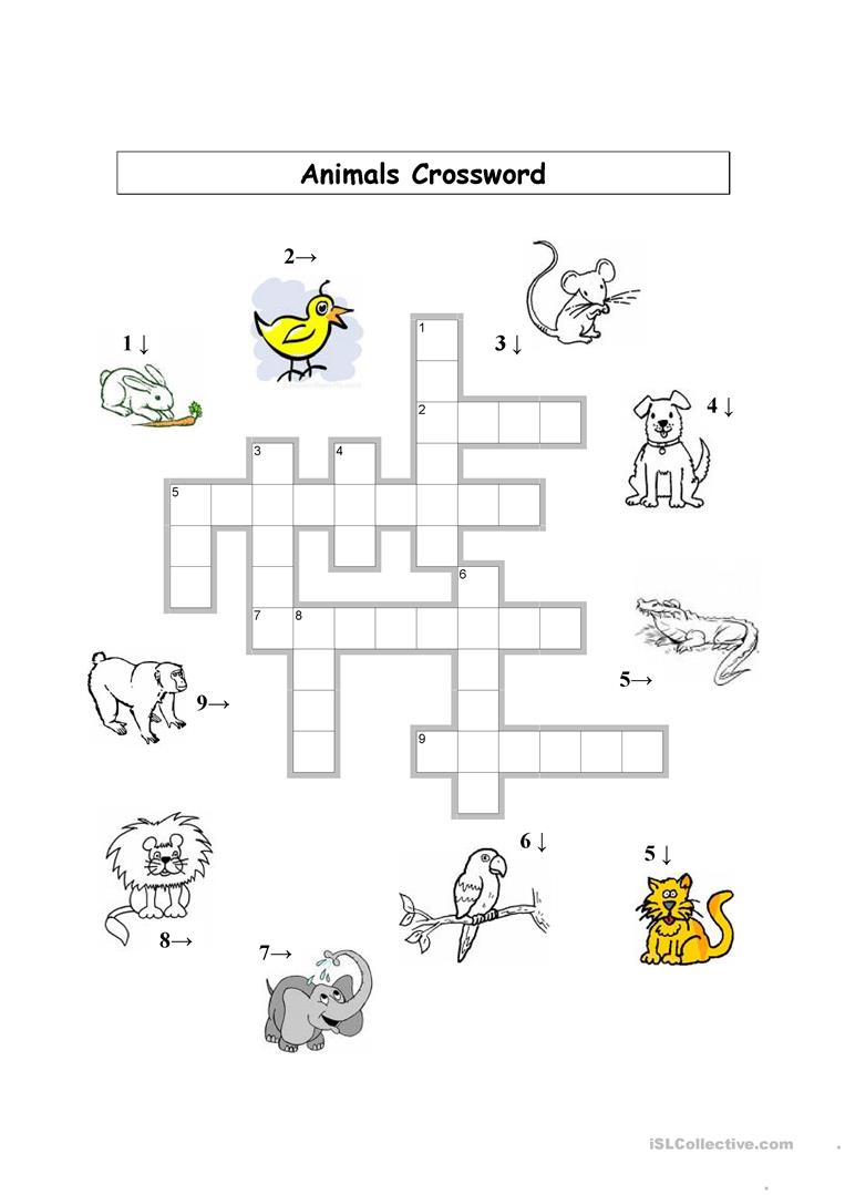 Animals Crossword (Basic) worksheet - Free ESL printable ...