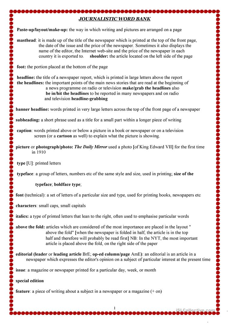 photo about Free Printable Journalism Worksheets known as Journalism Vocabulary - English ESL Worksheets